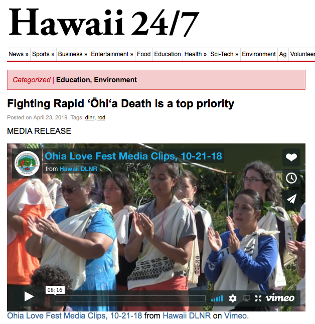 Fighting Rapid ʻŌhiʻa Death is a top priority